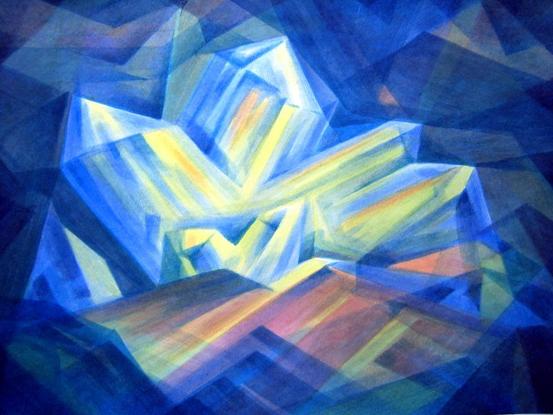 Blue Crystals IV, (watercolor)