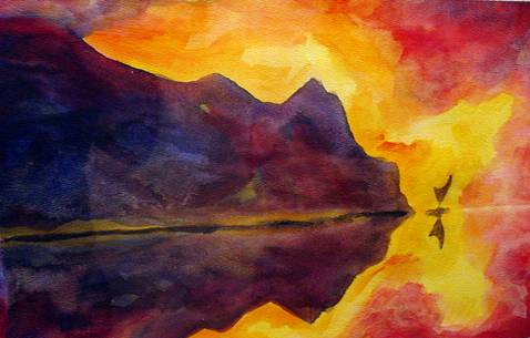 Reflections II after Nolde (watercolor)