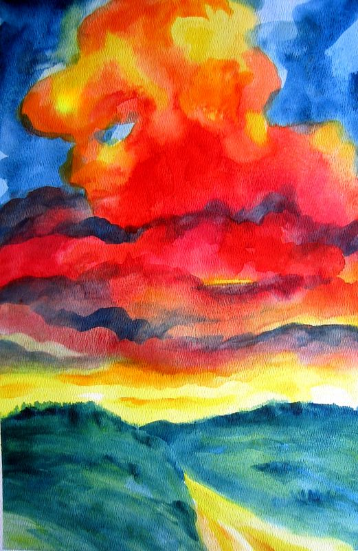 Skyscape--after Nolde (watercolor)