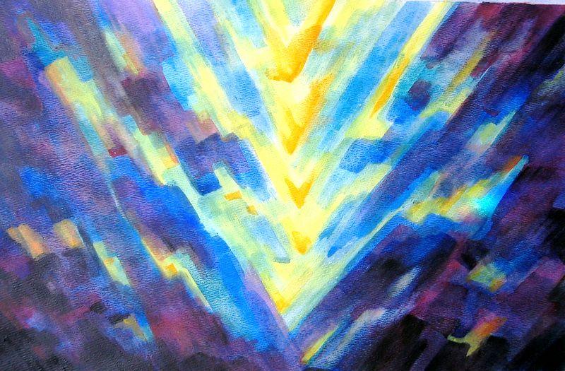 Descent, (watercolor)