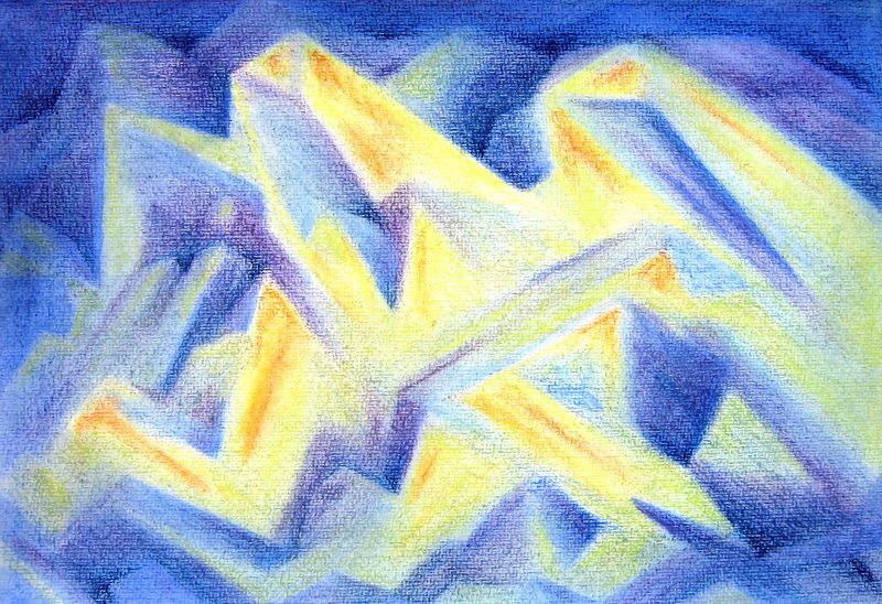 Blue Crystals #5 (watercolor and Pastels)