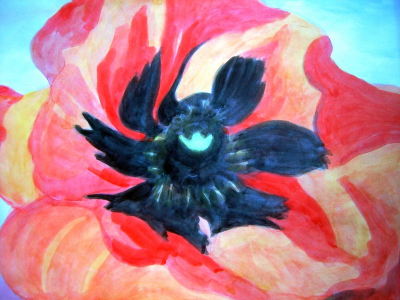 Flower after O'keefe (watercolor)