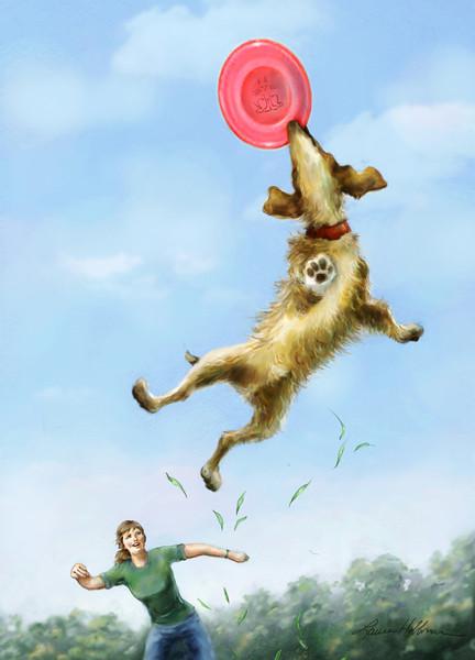 Frisbee Dog<br /> Mixed Media