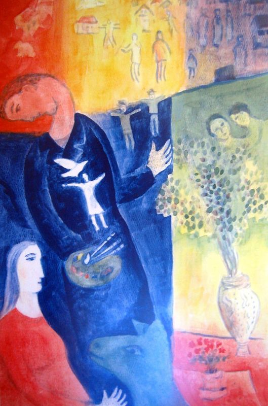 Artist with Dove after Chagall (watercolor)