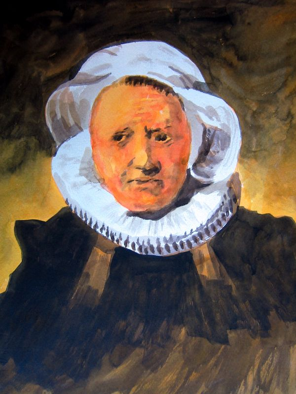 Portrait of a Woman after Rembrandt I (watercolor)