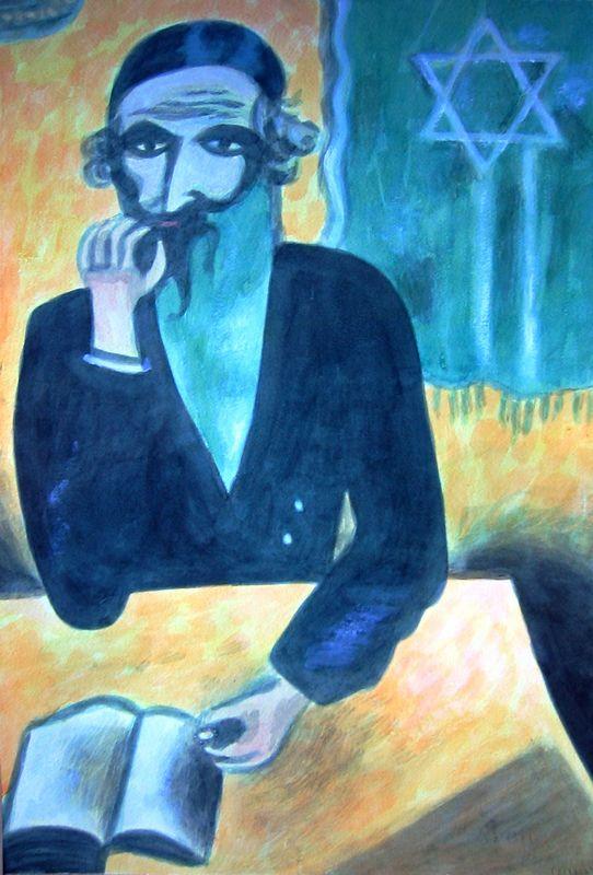 Rabbi after Chagall (watercolor)