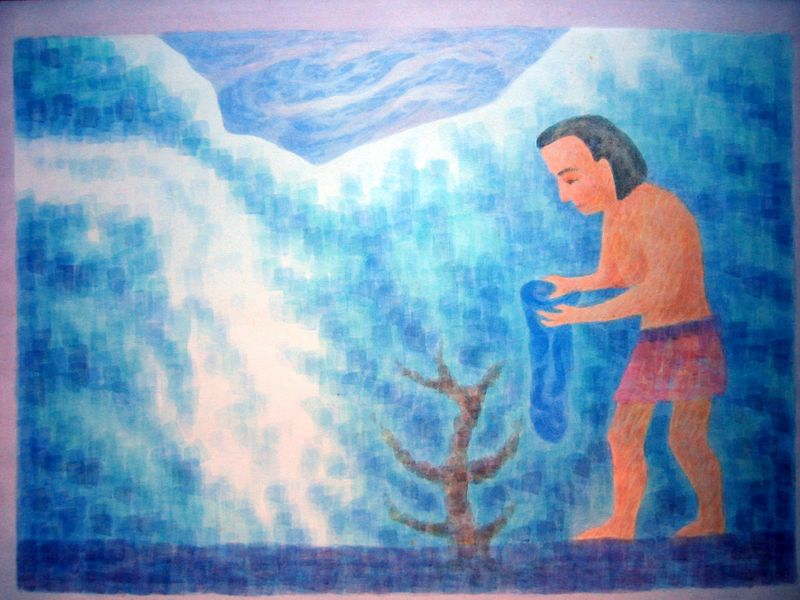 Tristan and the Blue Flower III (watercolor)