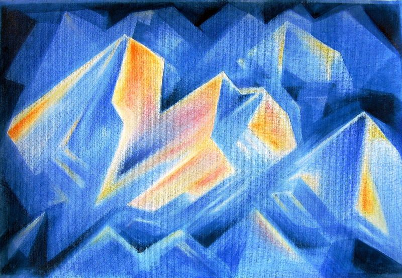 Blue Crystals #4 (watercolor & pastels)