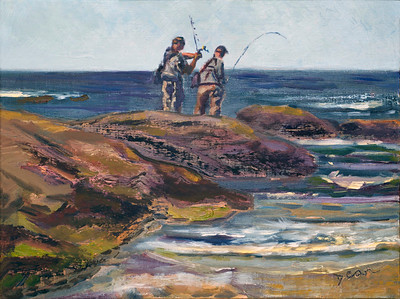 Original Plein Air Fisherman Study in Biddeford ME