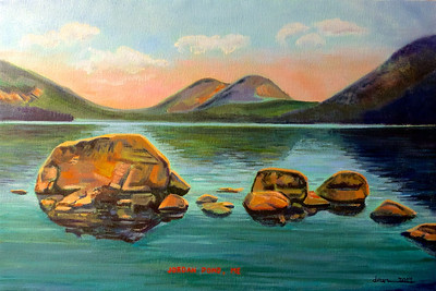 Jordan Pond, Acadia National Park (inspired by antique postcard)