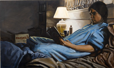 Reader; oil on canvas, 35 x 58 in, 1989