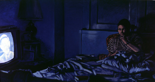Evening news; acrylic on canvas, 52 x 102 in., 1987