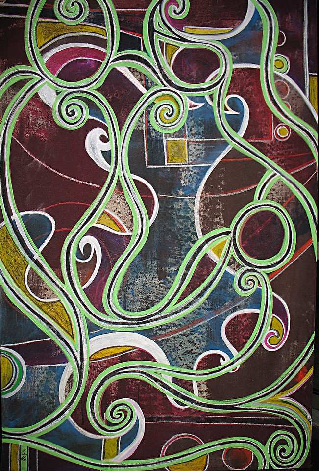 "1 ""Mother, Father Child""  3ftx5ft, Ink Acrylic and Pastels on Canvas- Sold Jennifer Gough"