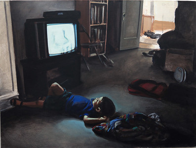 Watcher; acrylic on canvas, 30 x 40 in, 1995