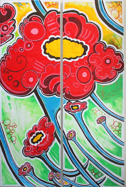 Spring 2011 Diptych (2) 2ftx6ft Acrylic and ink on canvas