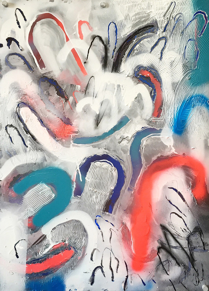 """Untitled landscape"" - Acrylic and spray paint on metallic paper - 2015"