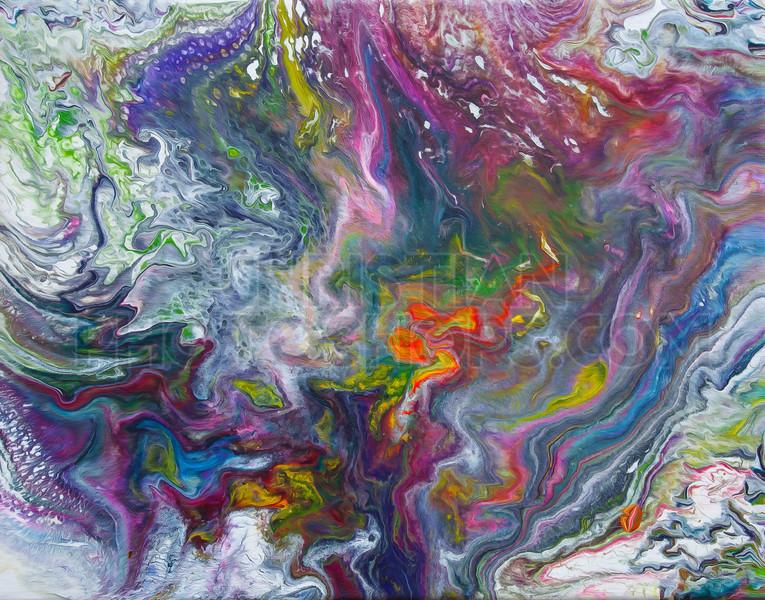 Colorful fluid paint