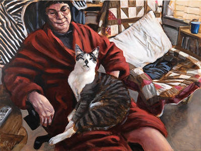 Woman and cat, oil on canvas, 36 x 48 in, 2018