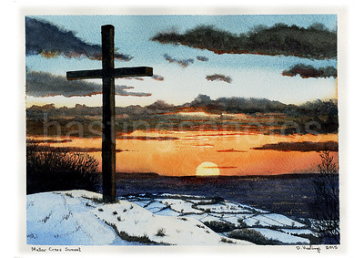 Mellor Cross winter sunset