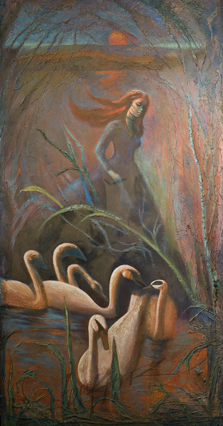 Woman with swans