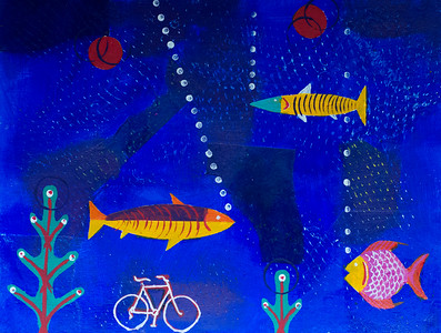 Fish with Christmas Trees and Bicycle