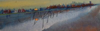 NY skyline with orange moon