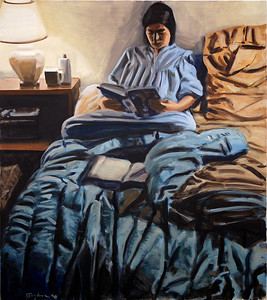 Reader; oil on canvas, 45 x 40 in, 1990