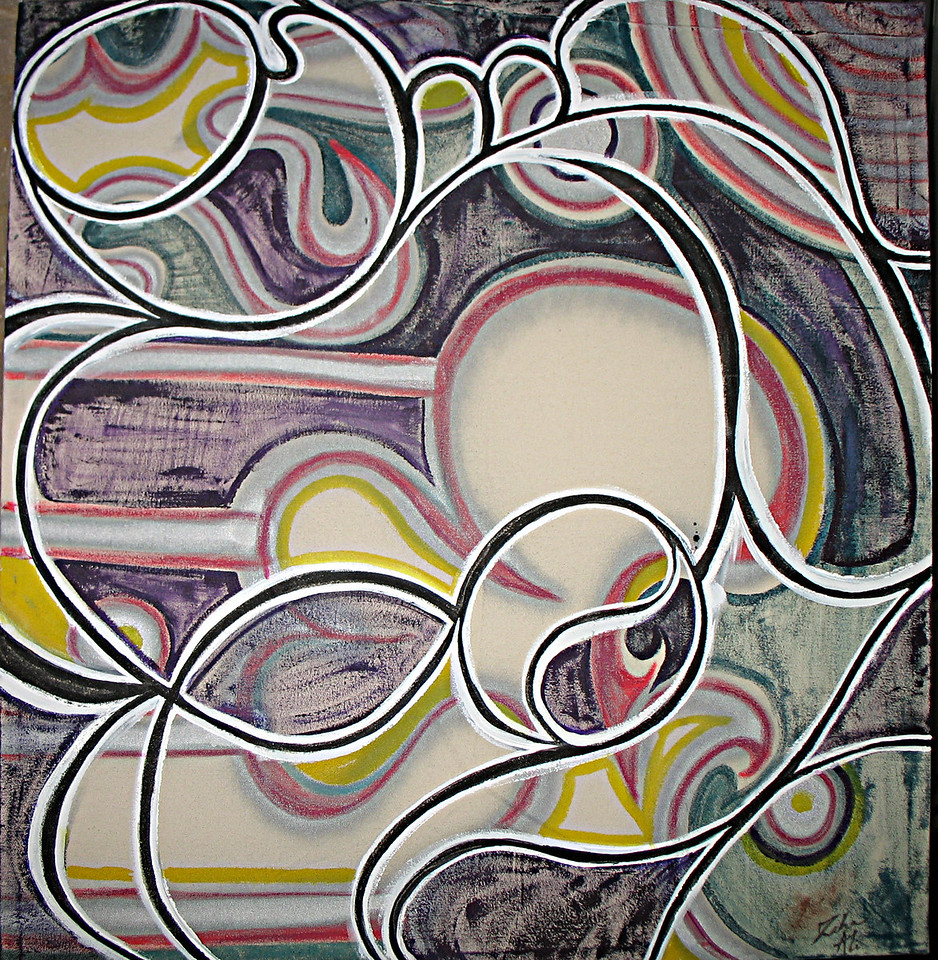 "1 , ""Motherhood"" 3ftx3ft, Ink acrylic and Pastels on Canvas,"