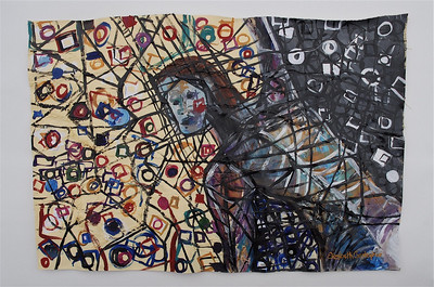 """Detangle Struggle""  painting by: Elizabeth Christopher © 2007 acrylic and thread on canvas 33.75"" x 23"""