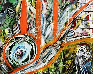 """Orange Rebirth""  painting by: Elizabeth Christopher © 2006 acrylic on canvas 24"" x 30"""