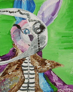 """Rabbit Bones""  © Elizabeth Christopher 2005 acrylic on canvas board 10"" x 8"""