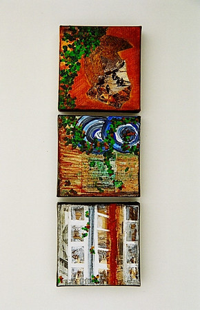 """Returning""  © Elizabeth Christopher 2004 acrylic and collage on canvas 3 pieces, each 4"" x 4"""