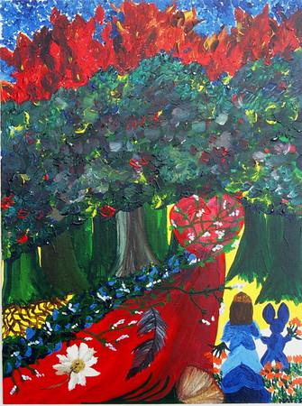 """The Unknown""  © Elizabeth Christopher 2002 acrylic on canvas board 24"" x 18"""