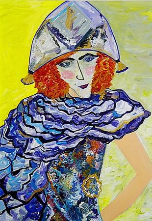 """Regine"" painting by: Elizabeth Christopher © 2005 acrylic on gessoed masonite 16"" x 12"""