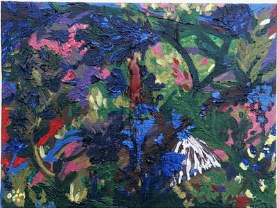"""Sad Flower #1""  © Elizabeth Christopher 2002 acrylic and wax on canvas board 9"" x 12"""