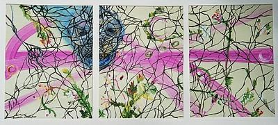 """Soul Visit""  © Elizabeth Christopher 2005 acrylic on canvas board three 9"" x 12"" panels"