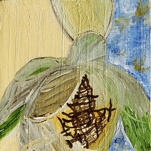 """""""Mended""""  © Elizabeth Christopher 2005 acrylic on canvas 5"""" x 5"""""""