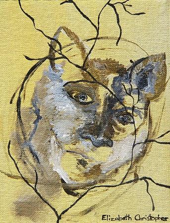 """Remembering Earth's Pulse""  © Elizabeth Christopher 2005 acrylic on canvas board 7"" x 9"""