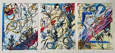 """Radiant Sudden""  © Elizabeth Christopher 2005 acrylic on canvas board three 9"" x 12"" panels"