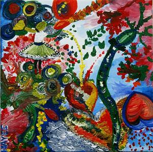"""Embracing Change""  © Elizabeth Christopher 2004 acrylic on canvas 12"" x 12"""