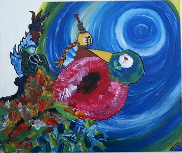 """""""Birth from a Wounded Heart""""  © Elizabeth Christopher 2003, acrylic on canvas, 20"""" x 23"""""""