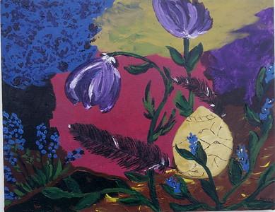 """Sad Flower #2""  © Elizabeth Christopher 2002 acrylic on canvas 14"" x 18"""