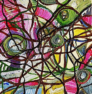 """Within""  © Elizabeth Christopher 2005 acrylic on canvas 5"" x 5"""