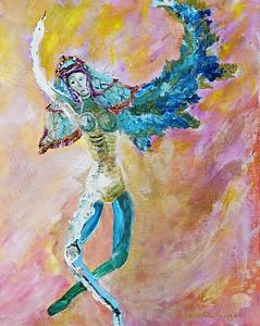 """Death Dance""  © Elizabeth Christopher 2006 acrylic on canvas 16"" x 20"""