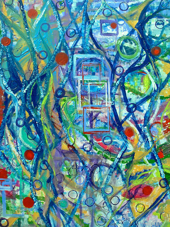 "I Swim the Earth"" 48"" x 36"" x1.5"" acrylic on canvas painting by: Elizabeth Christopher ©2013"