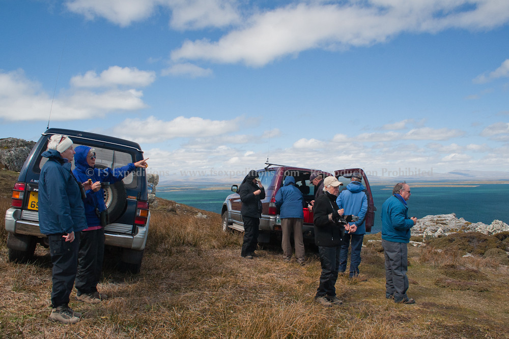 Picnic lunch. Our group from Borderland Tours (USA) at Pebble Island, Falkland Islands / Islas Malvinas