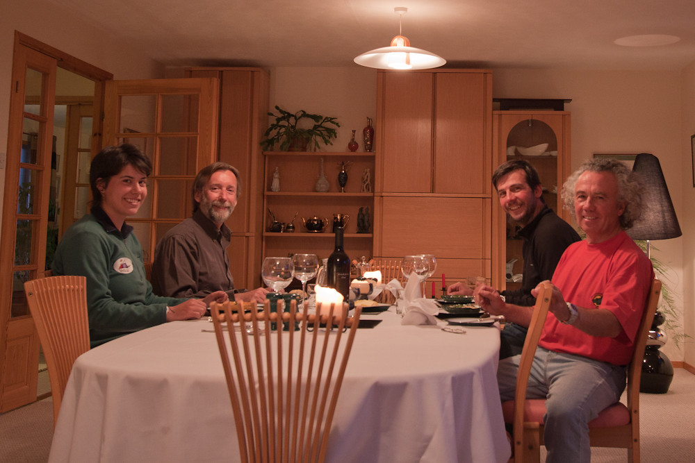 Guests Natalia, Carlos, Rodrigo and Tour Leader Enrique Couve, Carcass Island Lodge, Falkland Islands