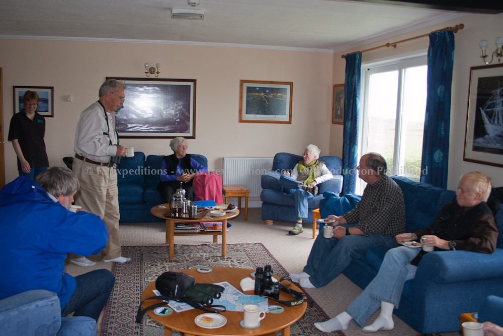 Our group [Borderland Tours] at the lodge, Pebble Island, Falkland Islands
