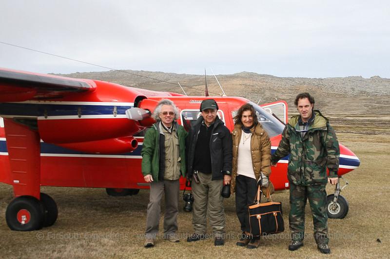 "Our guests ""jumping"" between islands, Sea Lion Island, Falkland Islands / Islas Malvinas"