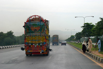 The well decorated trucks in Islamabad